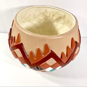 Accents - Vintage 1980s Aztec Stucco Hand Painted Planter